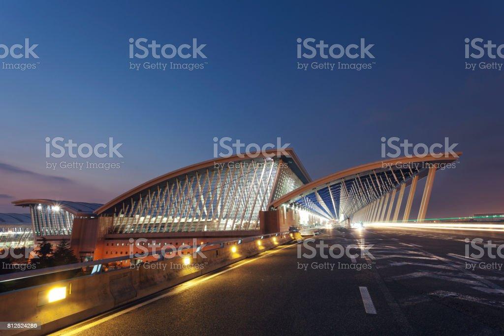 Shanghai Pudong International Airport at night. stock photo