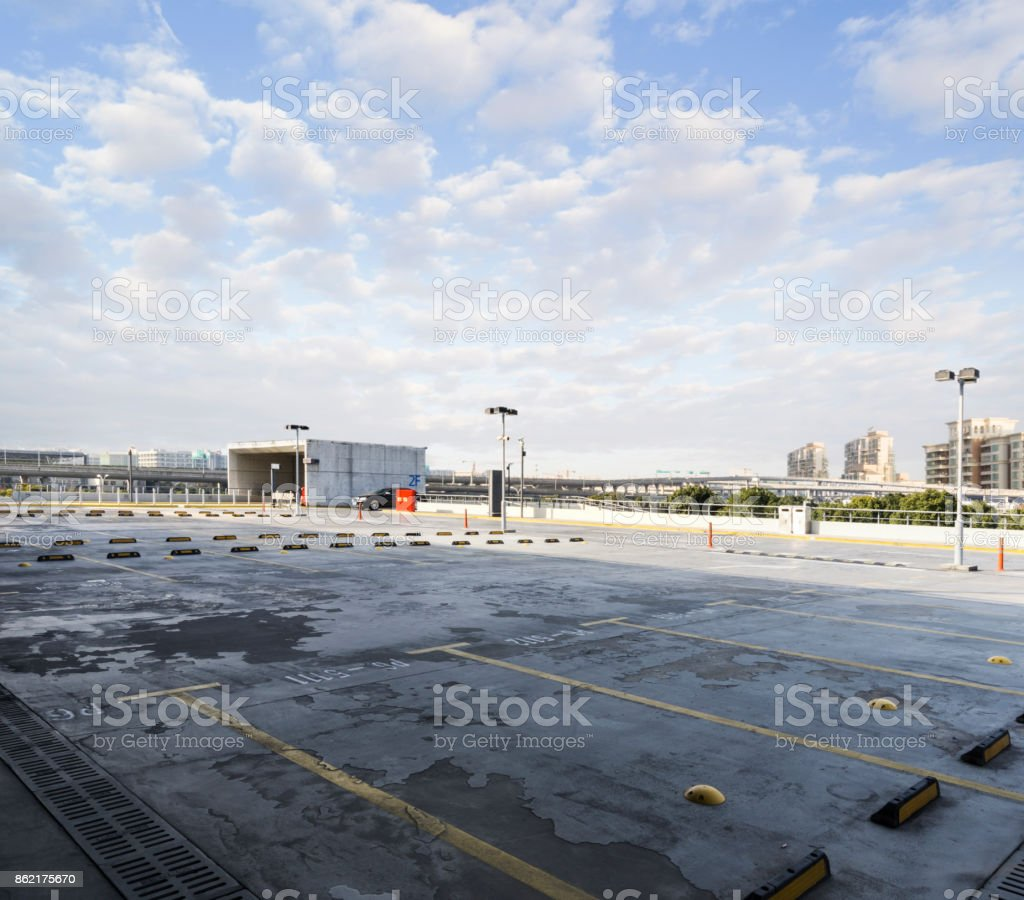Shanghai Pudong International Airport,parking lot,China - East Asia. stock photo