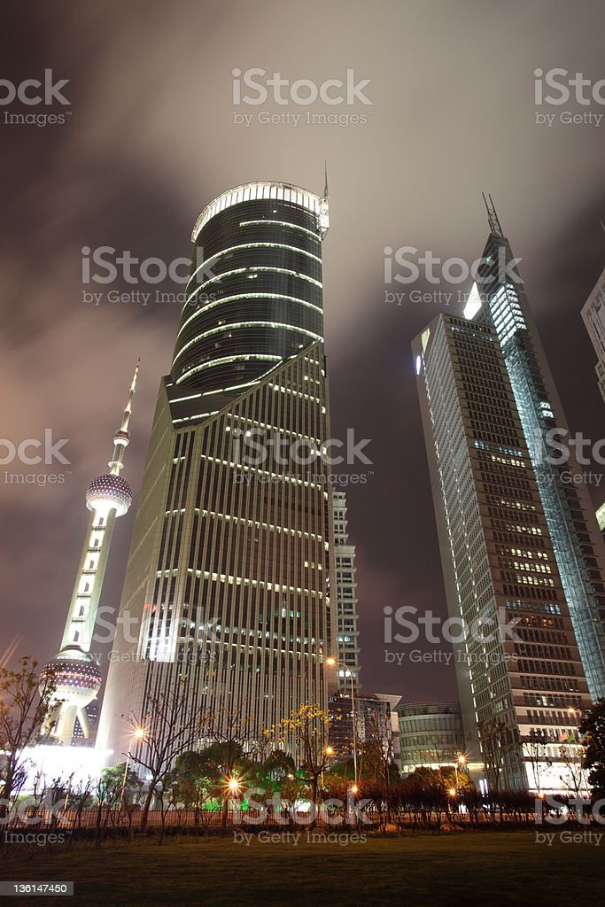 Shanghai Pudong Lujiazui at night stock photo