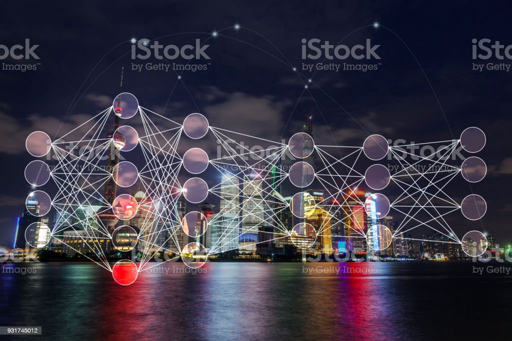 Shanghai pudong night scence with neuron deep learning layer network illustration stock photo