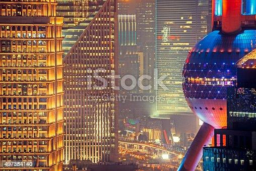 Oriental Pearl Tower and skyscraper