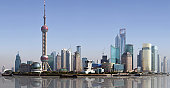 Ultra clear panorama of the skyline of Pudong district in Shanghai. Image made out of several high resolution vertical shots meticulously merged into a big horizontal one. China.