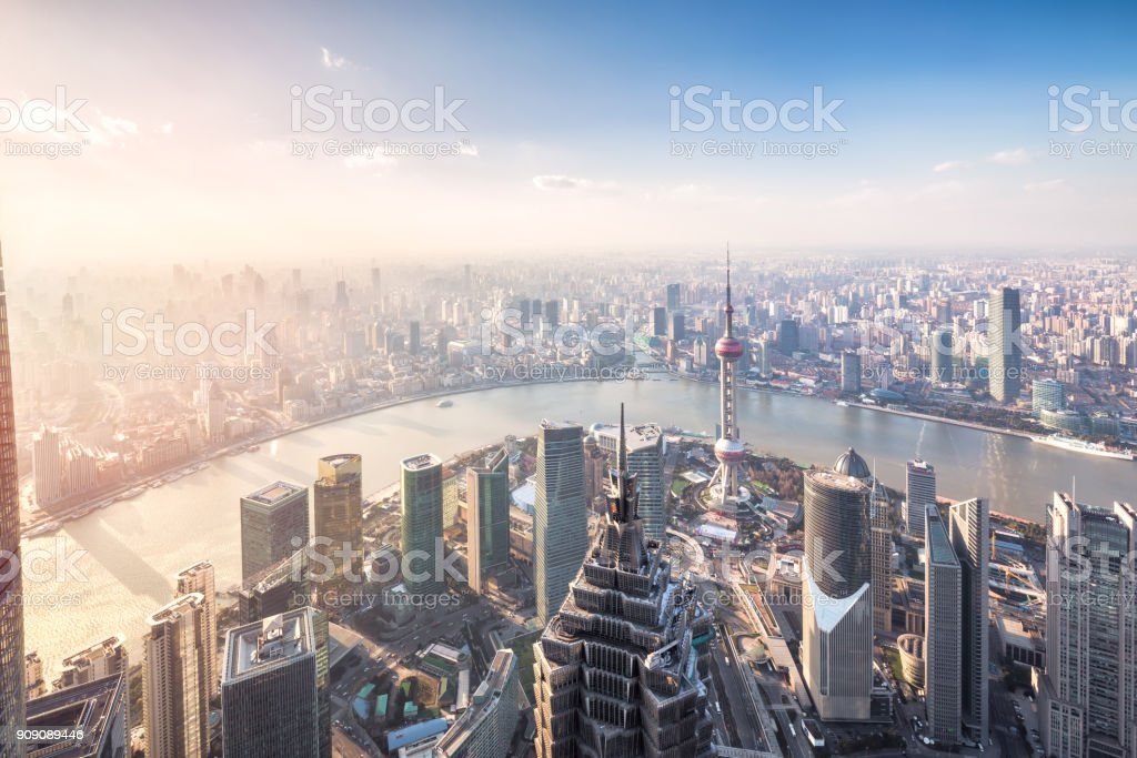 Shanghai skyline and cityscape at sunset stock photo