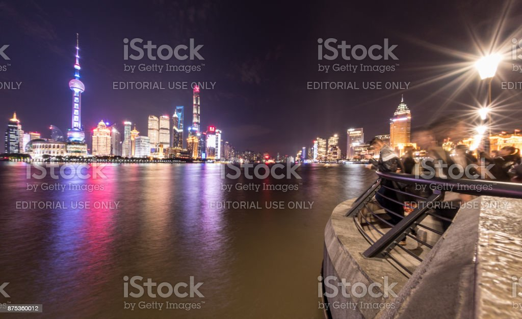 Shanghai skyline and The Bund walkway stock photo