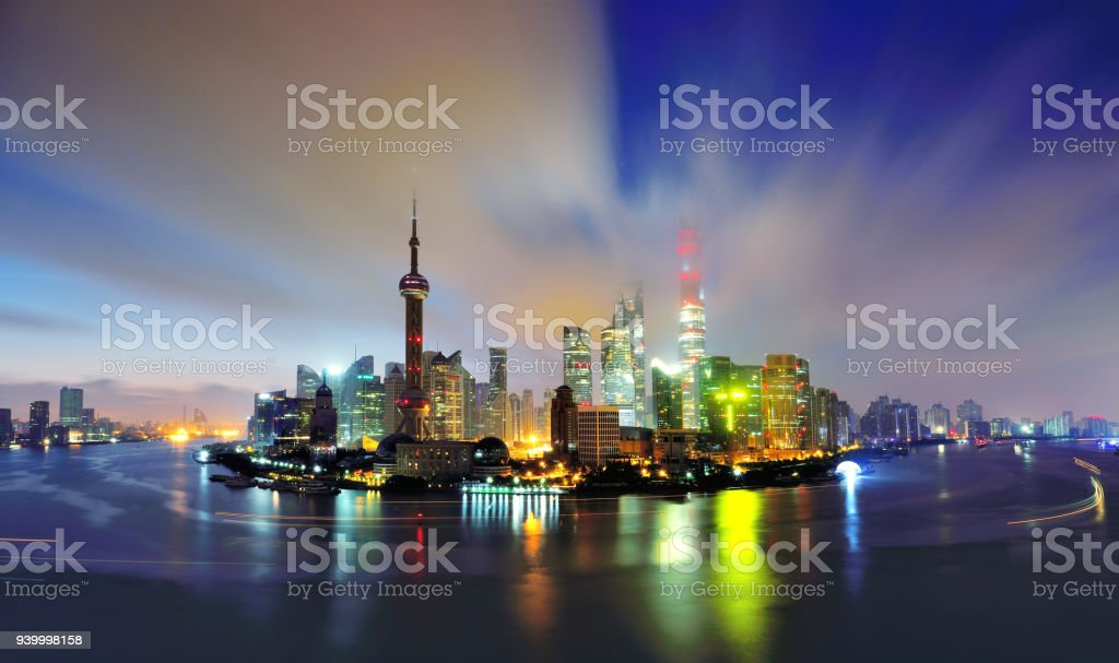 Shanghai Skyline at Dawn, China stock photo