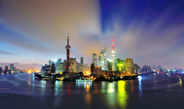 Shanghai Skyline at Dawn, China Aerial view of Shanghai skyline at dawn, China. jin mao tower stock pictures, royalty-free photos & images