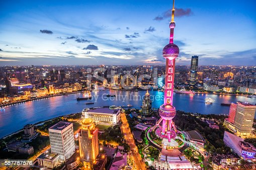 View of the splendid night view of downtown Shanghai.
