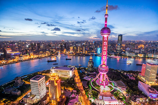 Shanghai Skyline at Dusk stock photo