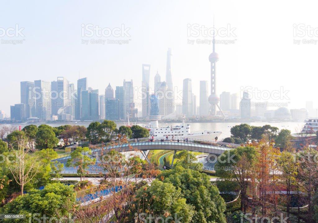Shanghai Skyline at Dusk royalty-free stock photo