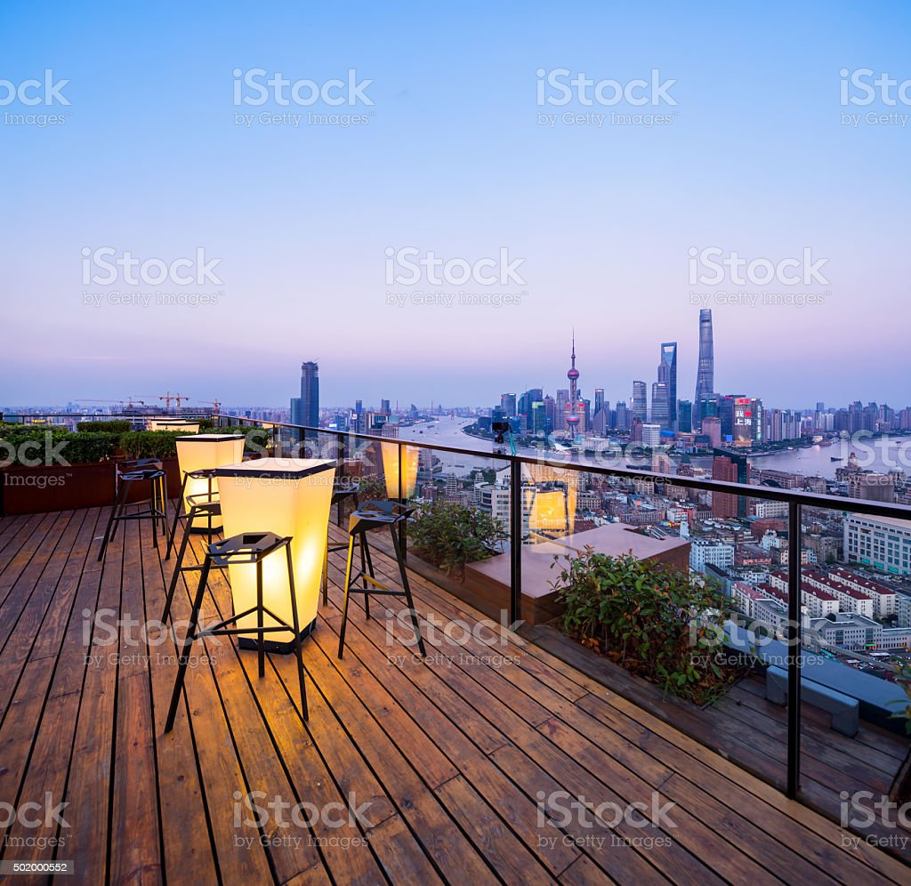 Shanghai skyline at night, China stock photo
