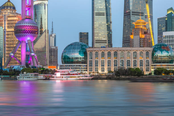 Shanghai skyline at night Built Structure, City, Cityscape, Famous Place, Huangpu River huangpu river stock pictures, royalty-free photos & images