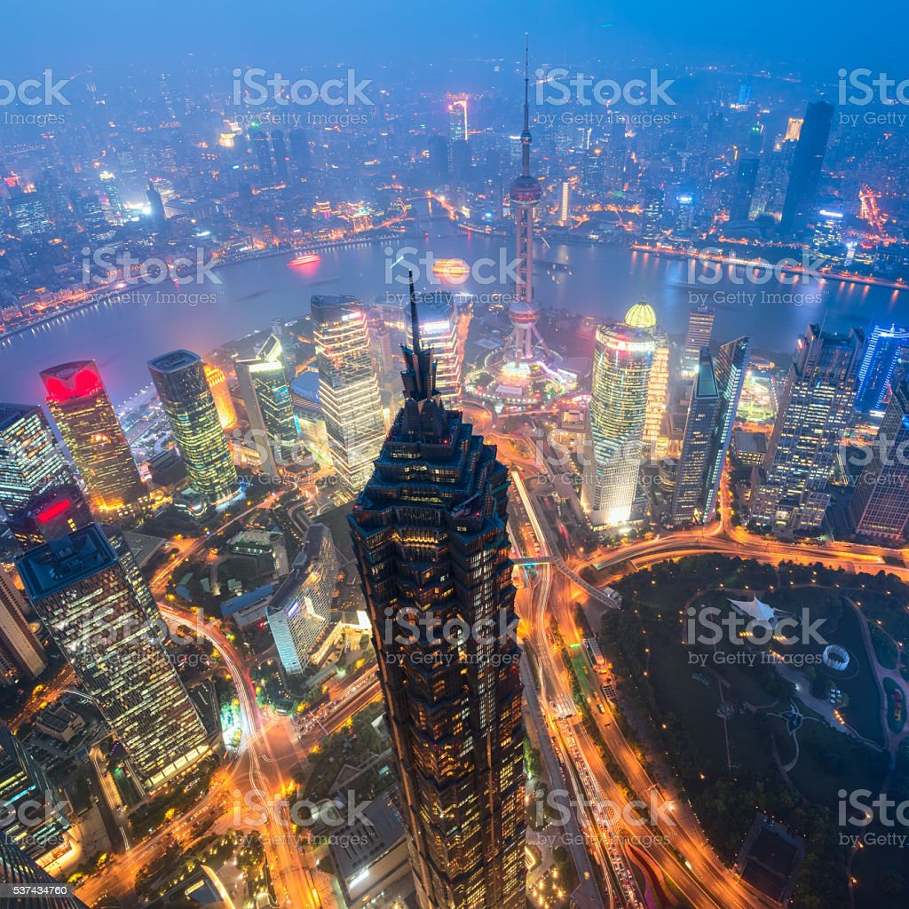 Shanghai Skyline at night. stock photo