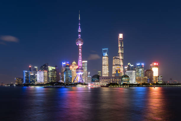 Shanghai skyline at night. Urban Skyline, City, City Street, Cityscape, Famous Place pudong stock pictures, royalty-free photos & images