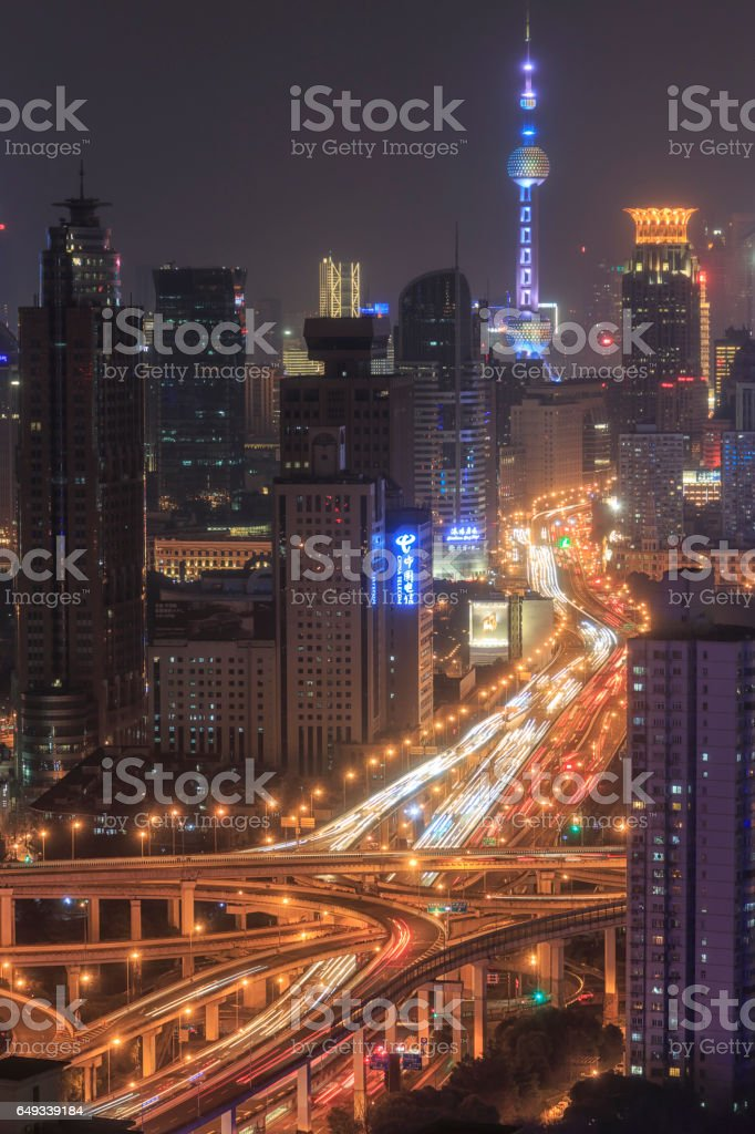 Shanghai skyline at night with the Oriental Pearl Tower on background stock photo