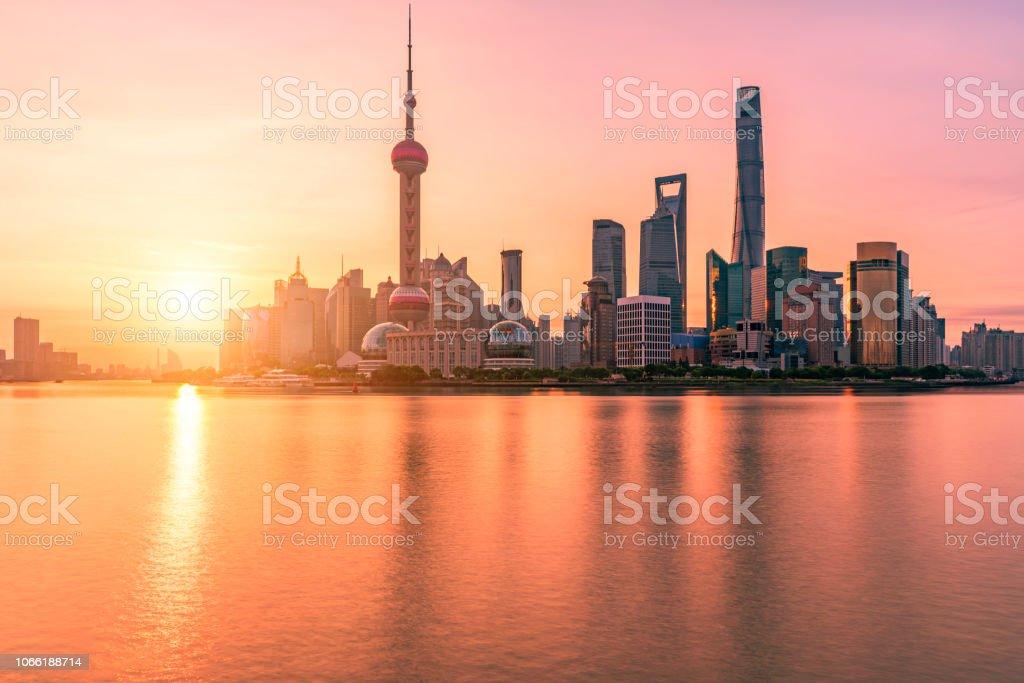 Shanghai Skyline at sunrise stock photo