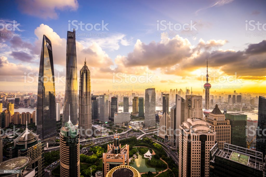 Shanghai Skyline at Sunset stock photo