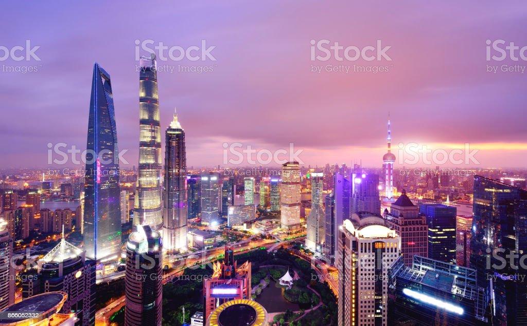 Shanghai Skyline Cityscape at Sunset, China stock photo