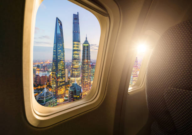 Shanghai skyline from the airplane Shanghai skyline from the airplane jin mao tower stock pictures, royalty-free photos & images