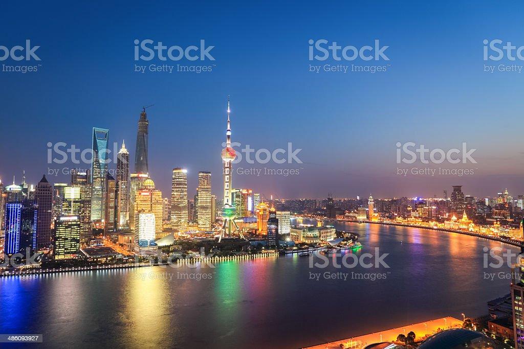 shanghai skyline in nightfall stock photo