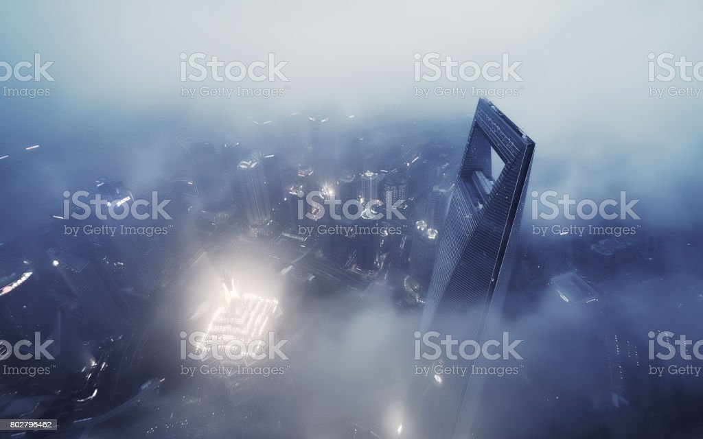 Shanghai Skyline in Sea of Clouds at night stock photo
