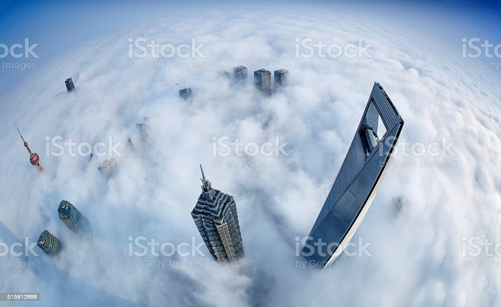 Shanghai Skyline in Sea of Clouds stock photo