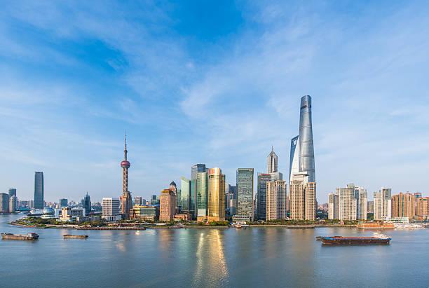 Shanghai skyline in sunny day, China stock photo