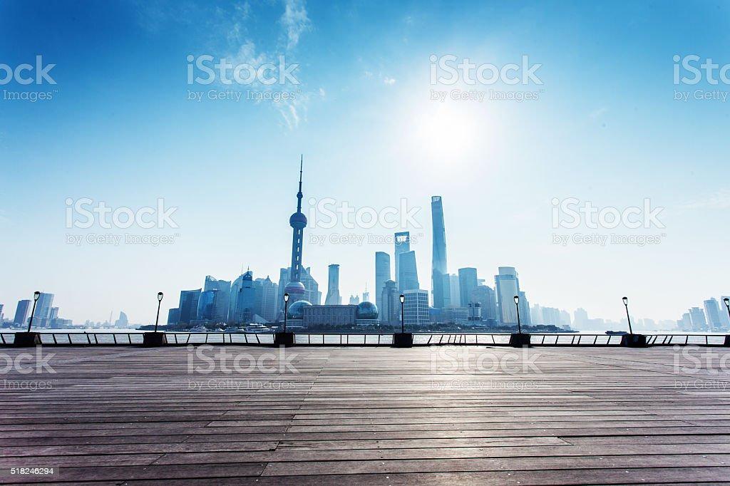 Shanghai skyline in sunny day stock photo
