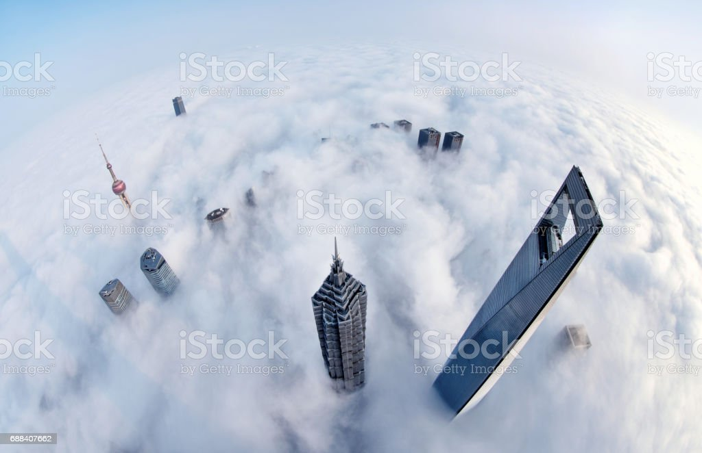 Shanghai Skyline in the Thick Fog, China stock photo