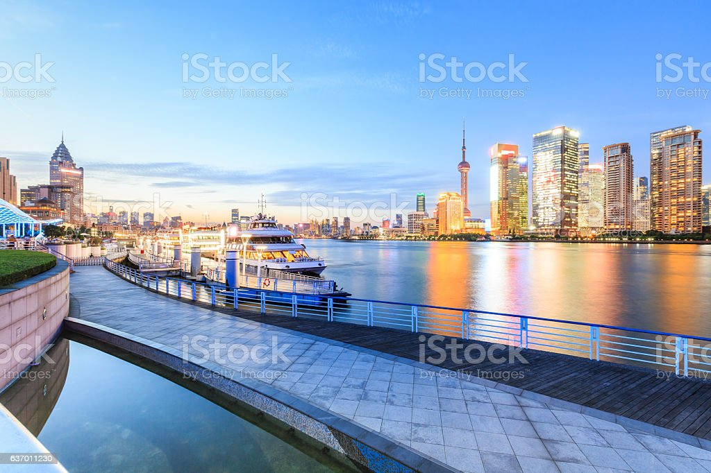 Shanghai skyline on the Huangpu River at night stock photo
