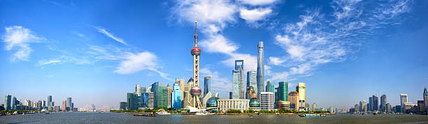 Shanghai skyline panorama stock photo