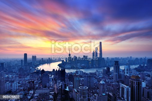 Shanghai skyline panoramic at sunrise in dramatic sky, China.