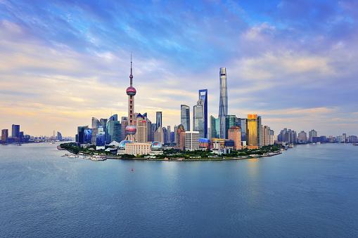 Shanghai Skyline Panoramic at Sunset