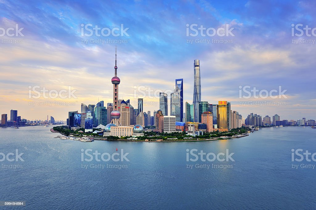 Shanghai Skyline Panoramic at Sunset stock photo