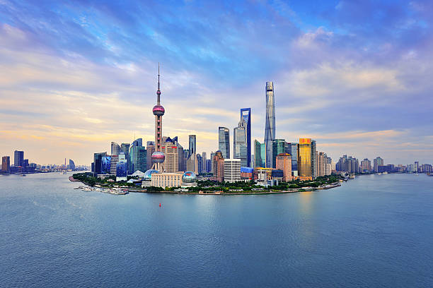 Shanghai Skyline Panoramic at Sunset – Foto