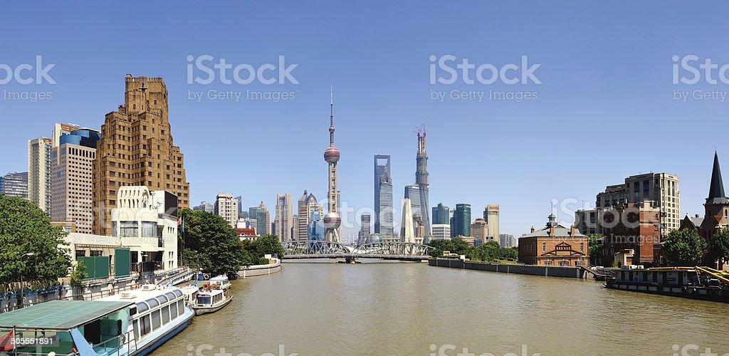 Shanghai Skyline Panoramic stock photo