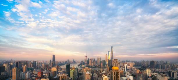 Shanghai Skyline Panoramablick in der Dämmerung,China – Foto