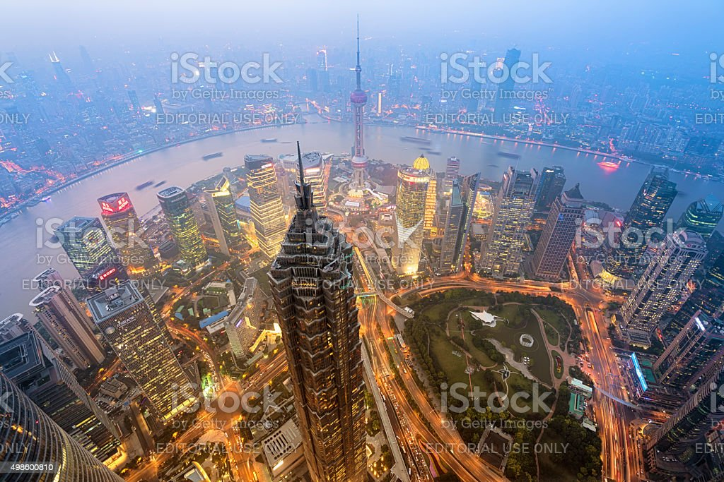 Shanghai Skyline Shanghail, China - Oct 13, 2015: Elevated view of  Lujiazui district in Shanghai, in Mao Tower in the foreground. Lujiazui has been developed specifically as a new financial district of Shanghai.  2015 Stock Photo