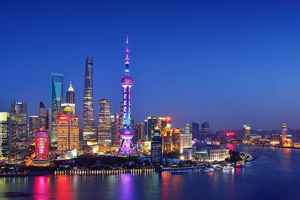 Shanghai Skyline Shanghai beautiful skyline at night. huangpu district stock pictures, royalty-free photos & images