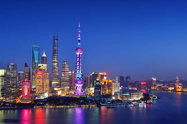 Shanghai Skyline Shanghai beautiful skyline at night. shanghai stock pictures, royalty-free photos & images