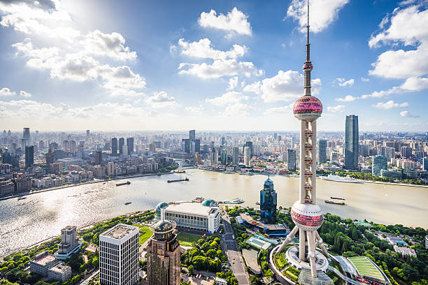 Shanghai Skyline Aerial view of modern skyscrapers in Shanghai. shanghai stock pictures, royalty-free photos & images