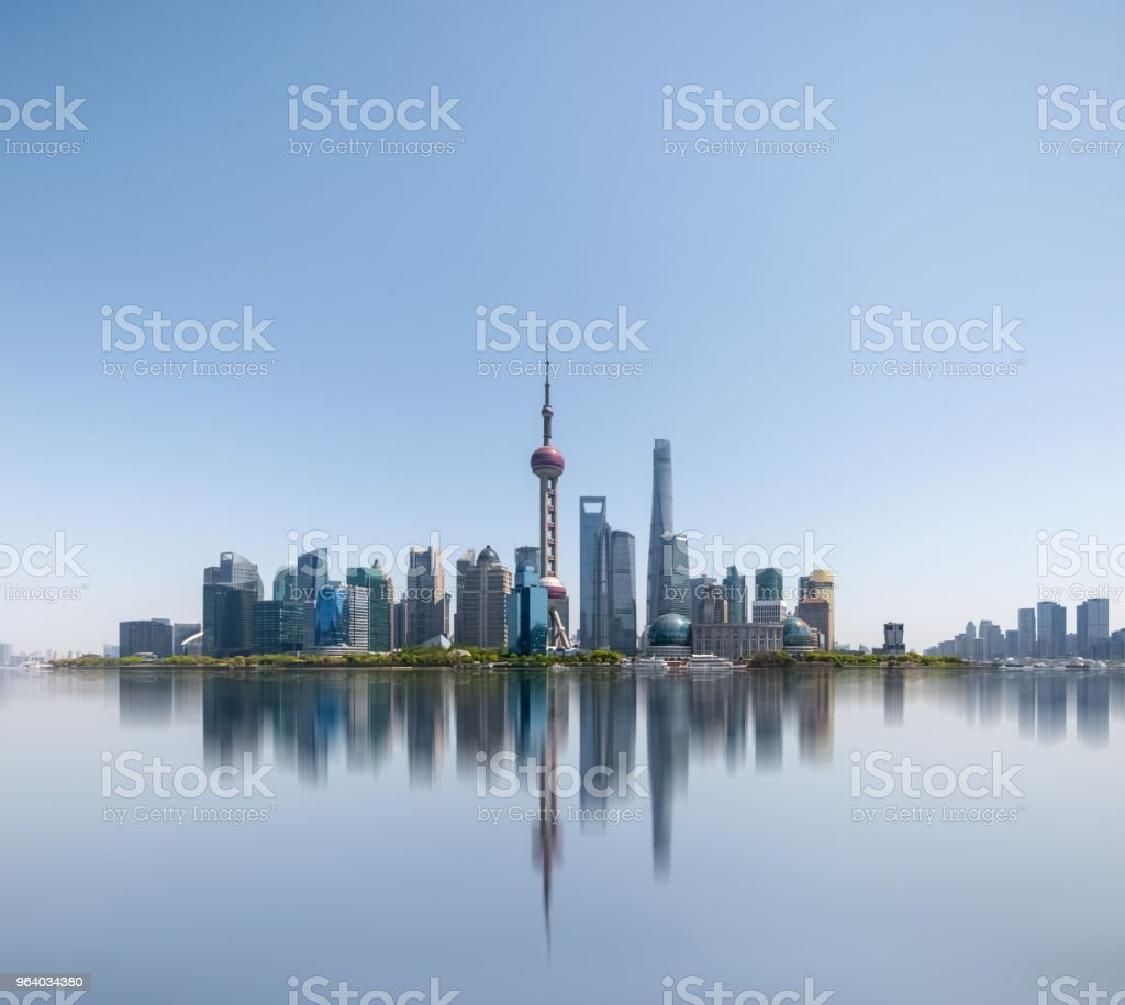 shanghai skyline reflected in the huangpu river - Royalty-free Architecture Stock Photo