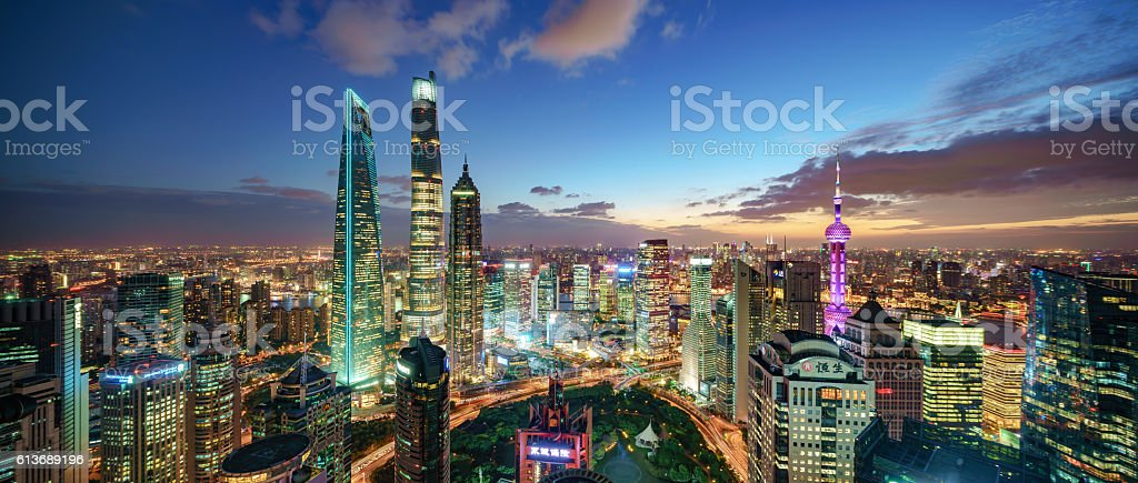 Shanghai Skyline Sunset stock photo