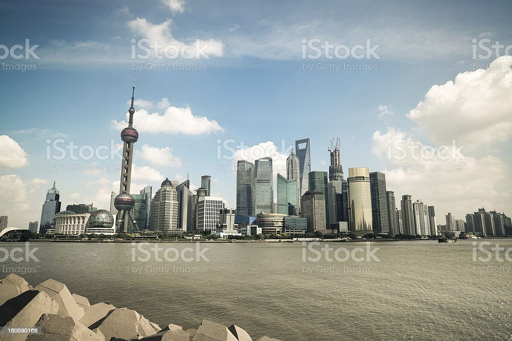 shanghai skyline with huangpu riverside royalty-free stock photo