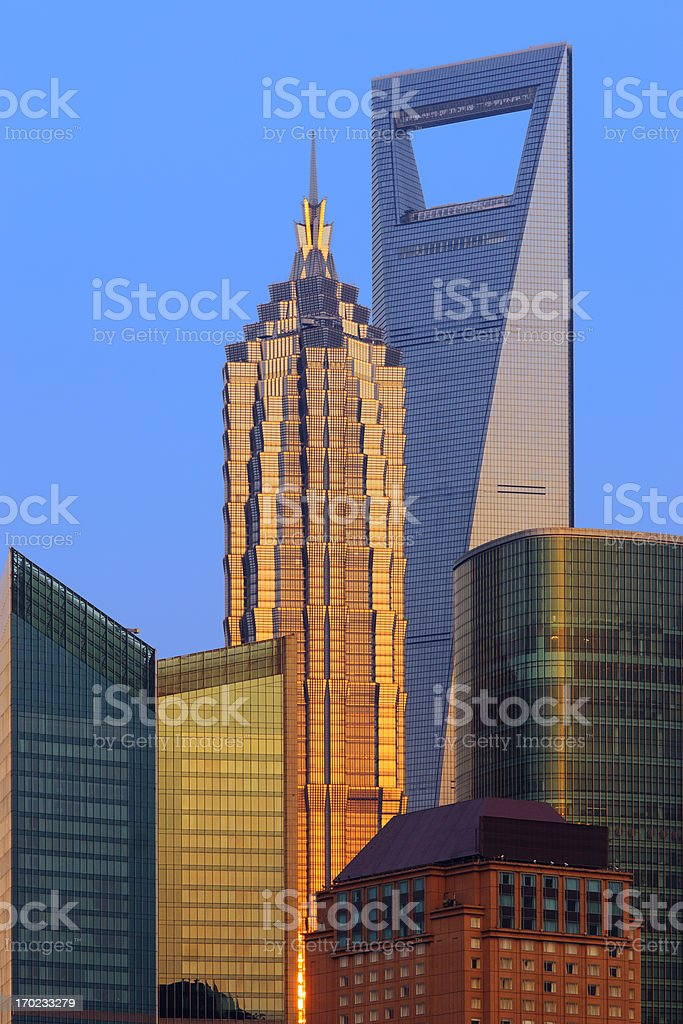 Shanghai Skyscraper at Dusk stock photo