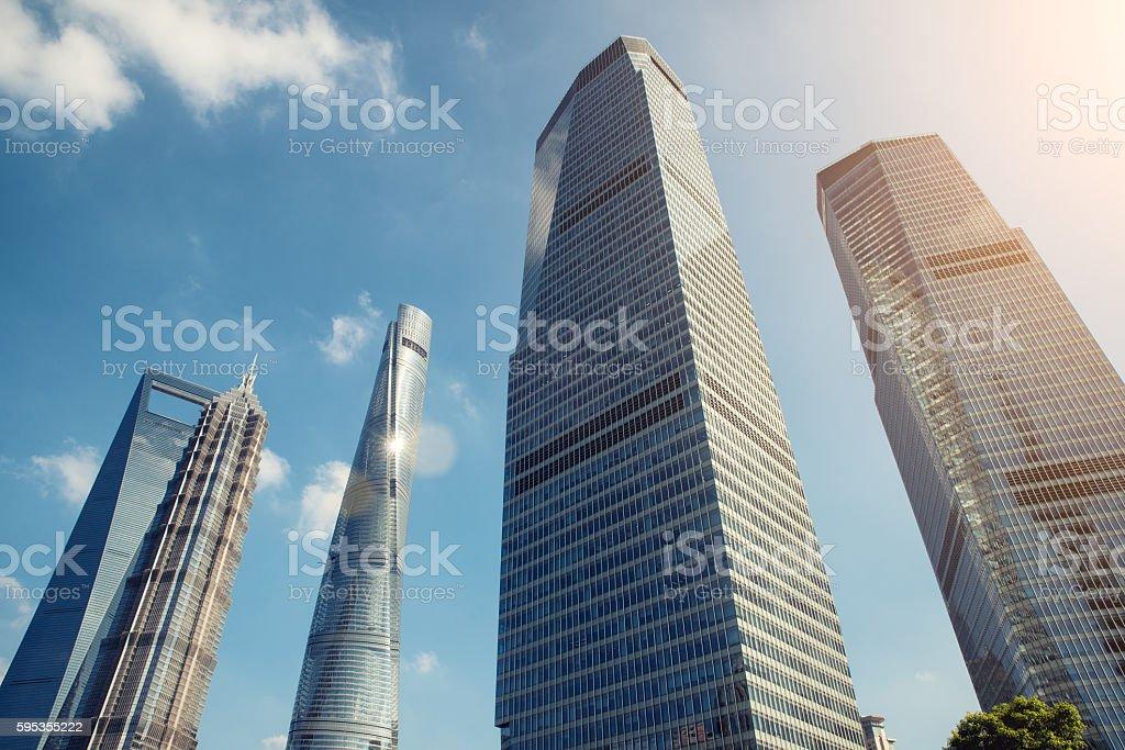 Shanghai skyscraper in Lujiazui in Shanghai, China. stock photo