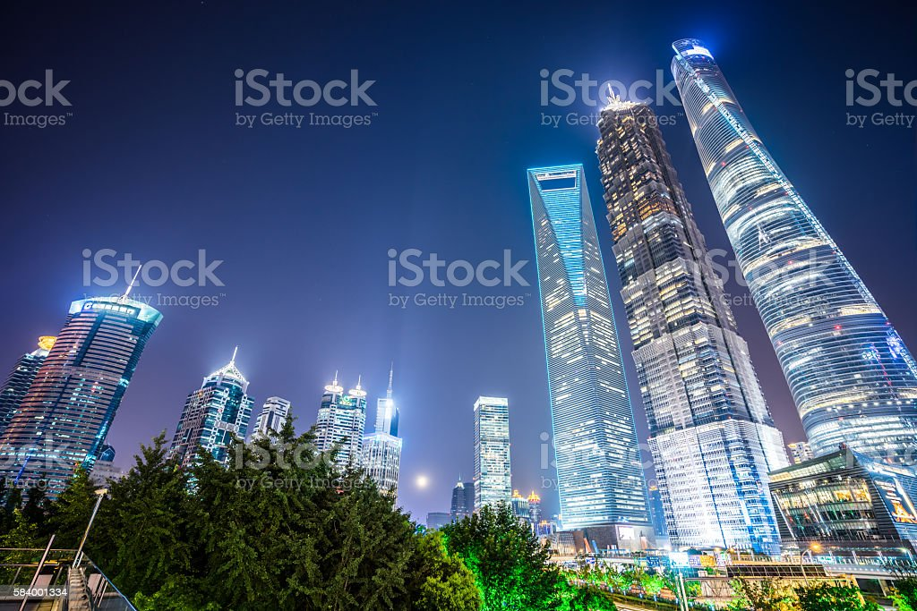 Shanghai Skyscrapers at Night stock photo