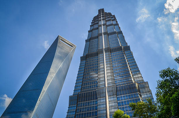 Shanghai Skyscrapers Jin Mao Tower and Shanghai World Financial Center  jin mao tower stock pictures, royalty-free photos & images