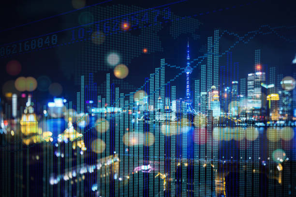 上海證券市場價格展示 - 銀行 財政大樓 個照片及圖片檔