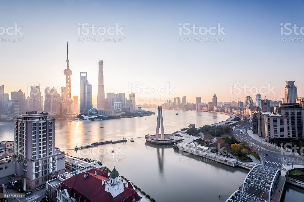 Shanghai sunrise stock photo