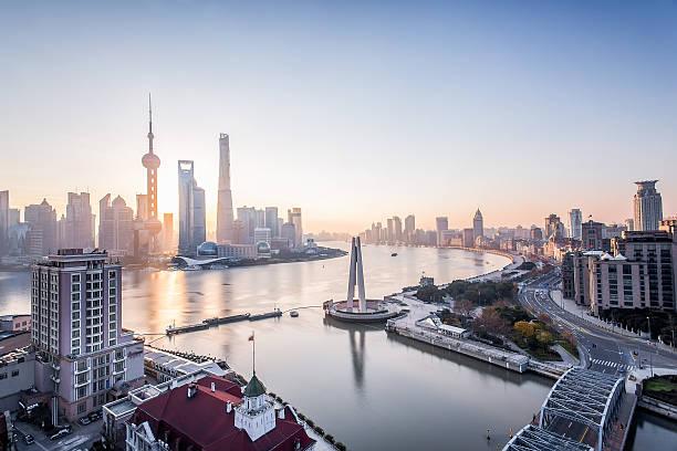 shanghai l'alba - cina foto e immagini stock